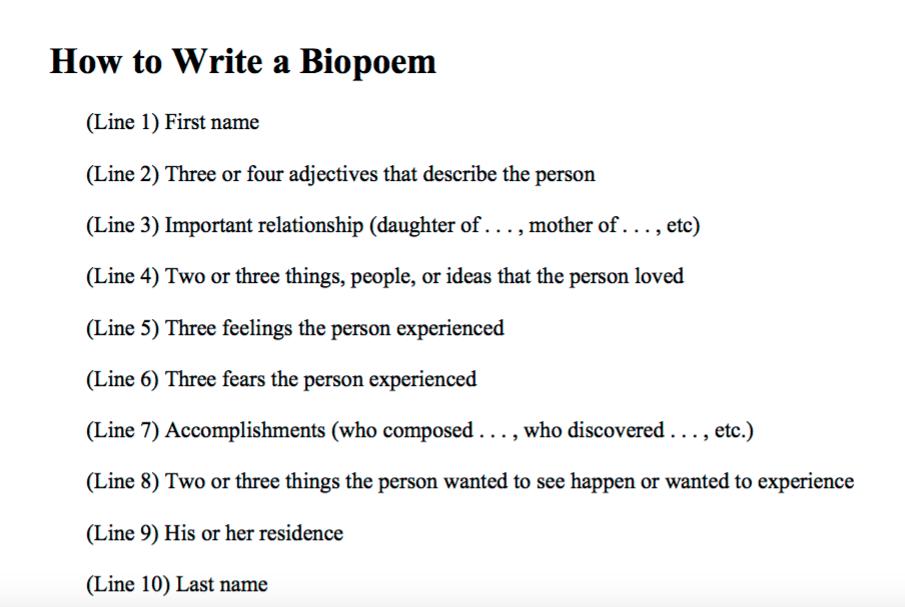 how to write a bio poem